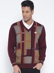 Monte Carlo Men Burgundy Patterned Sweater