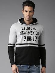 Moda Rapido Men Grey Melange & Black Printed Hooded T-Shirt