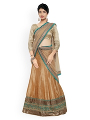 Touch Trends Brown Embroidered Semi-Stitched Lehenga Choli with Dupatta