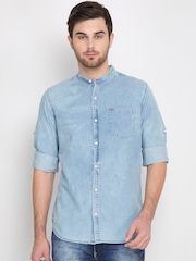 LOCOMOTIVE Men Blue Slim Fit Faded Casual Shirt