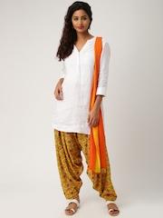 IMARA by Shraddha Kapoor Mustard Yellow & Orange Printed Patiala & Dupatta