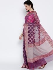 Banarasi Style Purple Cotton Patterned Banarasi Saree