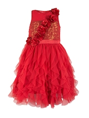Toy Balloon kids Girls Red Solid Fit and Flare Sequinned Dress