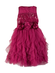 Toy Balloon kids Girls Purple Solid Fit and Flare Sequinned Dress