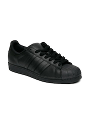 Adidas Originals Men Black Leather SUPERSTAR Sneakers
