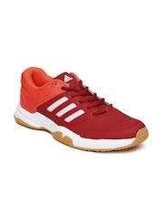 Adidas Men Red & Neon Orange Quickforce 3.1 Badminton Shoes