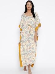 The Kaftan Company Cream-Coloured Printed Kaftan Maxi Nightdress LW_EASYFT003