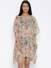 The Kaftan Company Cream-Coloured Sheer Floral Print Kaftan Cover-Up Dress RW_HOLIDY014