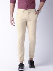 Moda Rapido Men Cream-Coloured Solid Slim Fit Chino Trousers