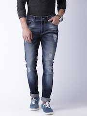 Moda Rapido Men Navy Blue Skinny Fit Mid Rise Highly Distressed Jeans