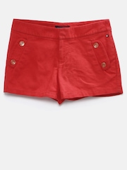Tommy Hilfiger Girls Red Solid Regular Fit Shorts