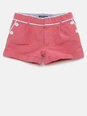 Tommy Hilfiger Girls Pink Self-Design Shorts