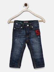 Tommy Hilfiger Boys Blue Slim Fit Mid-Rise Mildly Distressed Jeans