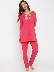 Kanvin Pink Embroidered Nightsuit KAW16234B