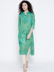 Shree Women Green Printed Straight Kurta