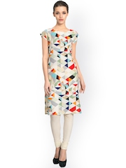 Vaamsi Women Off-White Printed Kurta