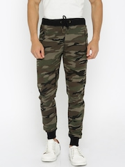 Being Human Clothing Olive Green Camouflage Printed Jogger Track Pants