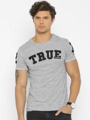 Being Human Clothing Men Grey Melange Printed T-shirt