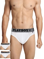 Playboy Men Pack of 3 White Briefs UF 18