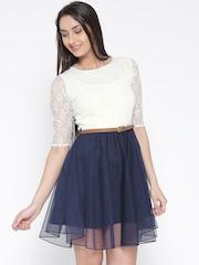 U&F Women White Crepe Colourblocked Lace Fit & Flare Dress