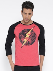 DC Comics Men Coral Red Printed Round Neck T-shirt