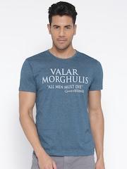 Game Of Thrones Men Blue Printed Round Neck T-shirt