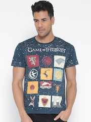 Game Of Thrones Men Teal Blue Printed Round Neck T-shirt
