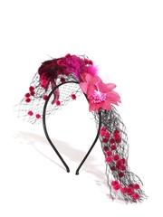 The Hairklip Girls Black & Pink Net Floral Hairband