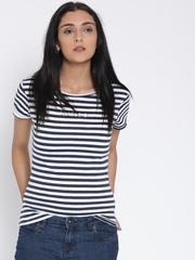 MANGO Women White & Navy Striped Round Neck T-shirt