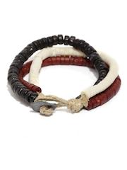 The Bro Code Men Set of 3 Brown & White Beaded Bracelet