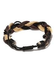 The Bro Code Men Brown & Beige Braided Bracelet