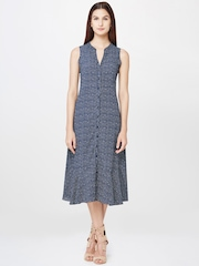 AND by Anita Dongre Women Navy Checked Midi Shirt Dress