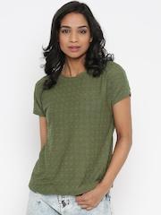 Vero Moda Olive Green Self-Design Top