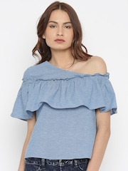Vero Moda Blue Solid Top