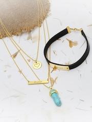 Tipsyfly Unisex Black & Gold-Toned Jewellery Set