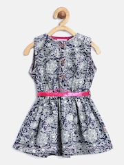 Baby League Girls Printed Chambray Fit & Flare Dress