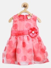Baby League Girls Coral Red Printed Fit & Flare Dress