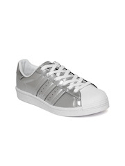 Adidas Originals Women Silver-Toned Superstar Sneakers