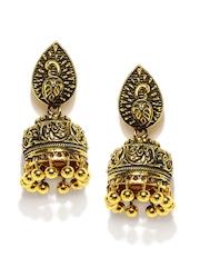 Zaveri Pearls Antique Gold-Toned Jhumka Earrings