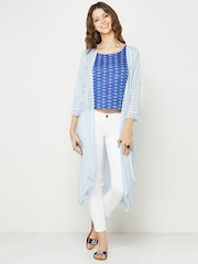 Global Desi Blue Patterned Semi-Sheer Longline Shrug