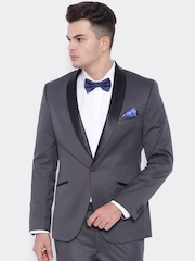 SUITLTD Grey Slim Fit Single-Breasted Tuxedo Blazer
