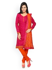 Touch Trends Orange & Pink Embroidered Unstitched Dress Material