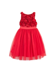 Toy Balloon kids Girls Red Solid Fit & Flare Dress with Rosettes