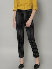 Marks & Spencer Women Black & White Striped Slim Fit Trousers