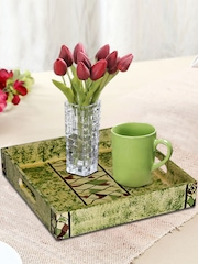 RANGRAGE Green Single Hand-Painted Square Tray