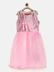 Peppermint Girls Pink Shimmery Fit and Flare Dress
