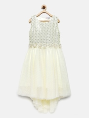 Peppermint Girls Off-White Shimmery Fit & Flare Dress