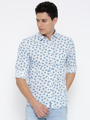 Wills Lifestyle Men White & Blue Slim Fit Printed Casual Shirt
