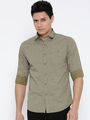 Wills Lifestyle Men Olive Green Slim Fit Printed Casual Shirt