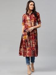Libas Women Maroon Printed Shirt Style Kurta